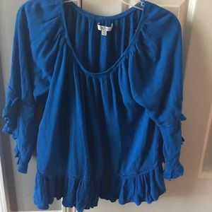 ROYAL BLUE FEVER BLUE EYELET BLOUSE SIZE MEDIUM